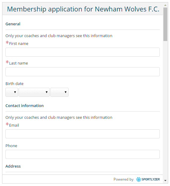 Online club membership application forms by Sportlyzer - website widget 2