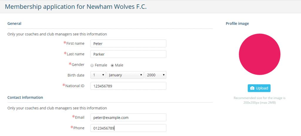 Online membership application form - Sportlyzer