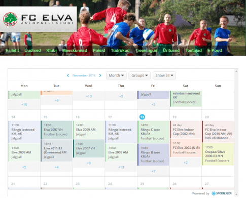 Sportlyzer Calendar widget used on FC Elva website 2