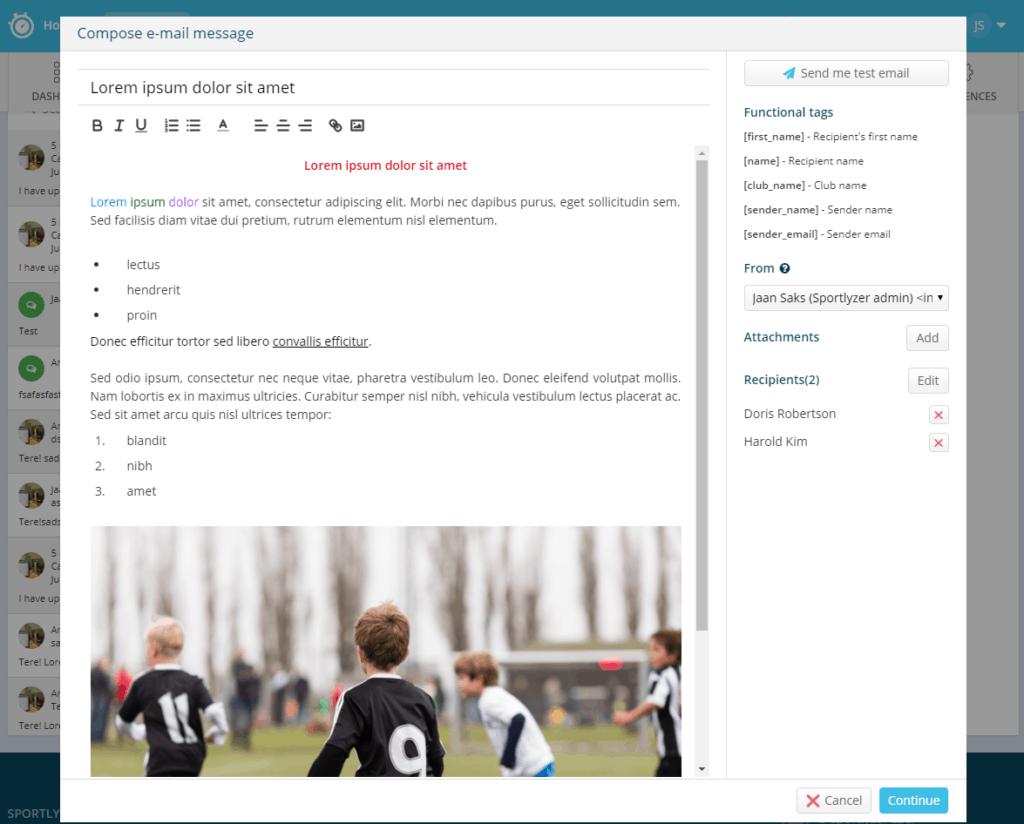 Messaging formatting tools - Sportlyzer