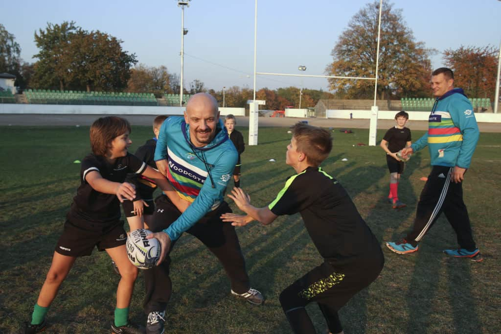 Happy players training rugby - Jan Machacek and Olymp Praha rugby club