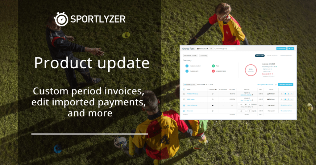 Product update - Custom period invoices - Sportlyzer
