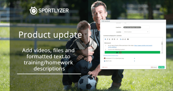 Add videos, files and formatted text to training & homework descriptions - Sportlyzer