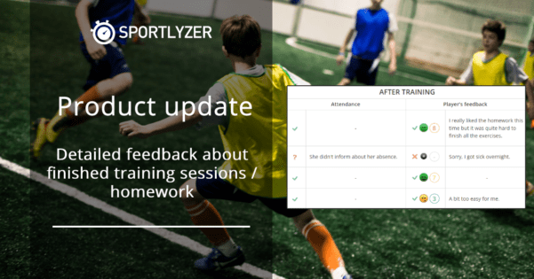 Detailed feedback about finished training sessions and homework