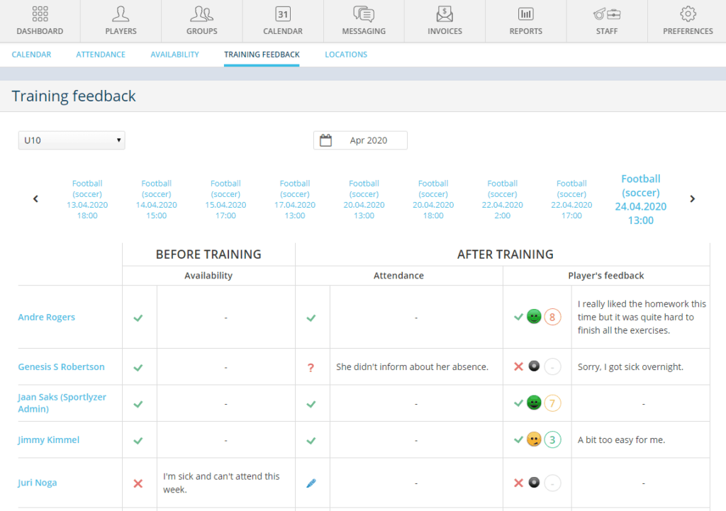 Detailed feedback about finished training sessions and homework - Sportlyzer Coach Dashboard