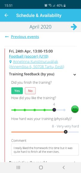 Detailed feedback about finished training sessions and homework - Sportlyzer Player App